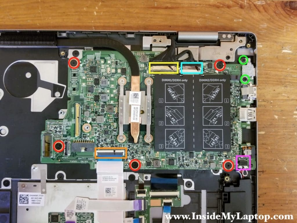 Remove five screws securing the motherboard and disconnect all cables.