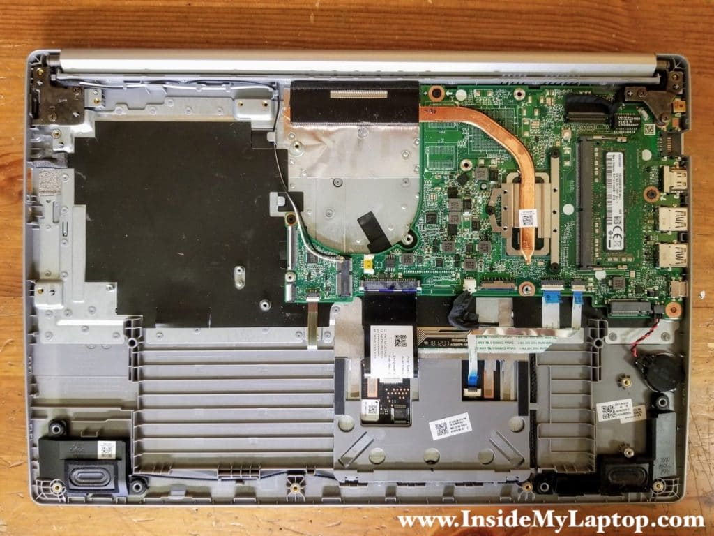 In order to remove the motherboard it's necessary to remove the display panel first.