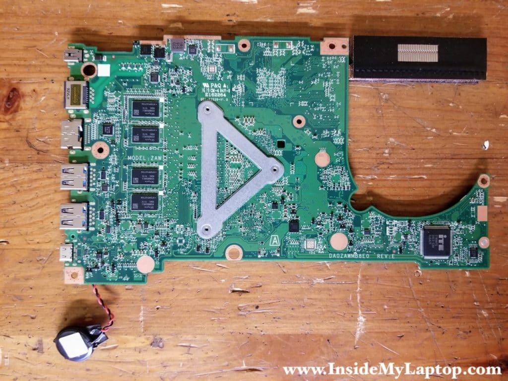 Here's the other side of the Acer Aspire 5 A515-54 motherboard.
