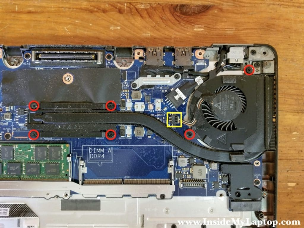 How to remove the heatsink and fan assembly.