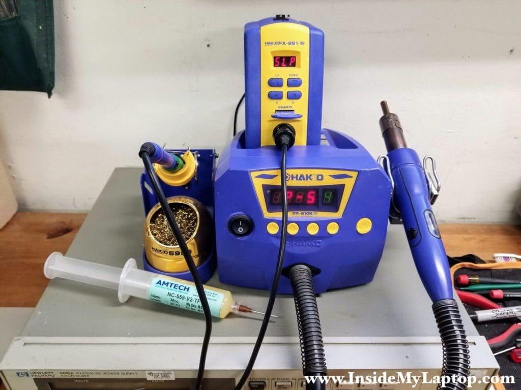 Hakko FX951 75 Watt soldering station and Hakko FR-810B hot air rework station.