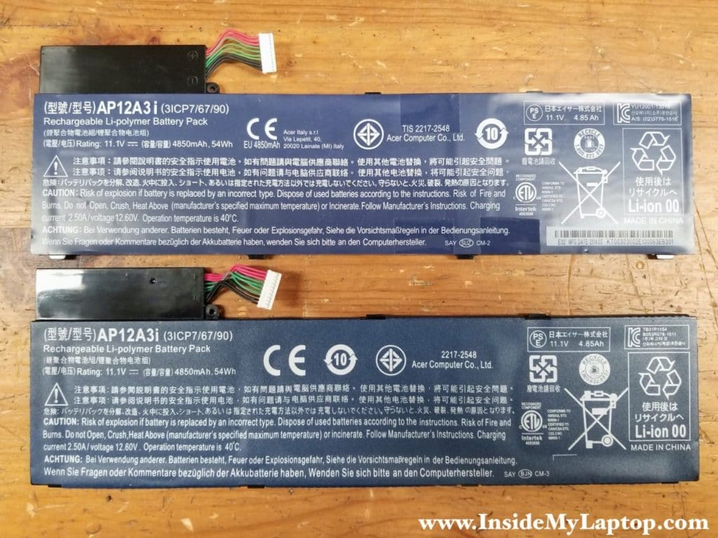 Genuine battery and fake battery.