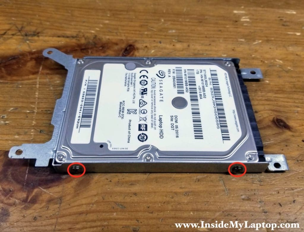 If you decide to upgrade to a solid state drive, you'll have to transfer the mounting bracket to the new drive.