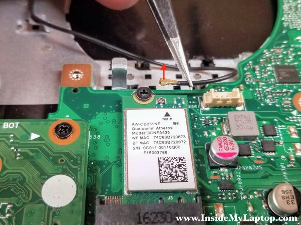 "In order to disconnect the wireless card antenna cable simply lift up the cable ""head"" and un-snap it from the connector on the card."