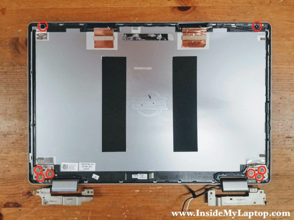 With the screen removed you can access the display hinges and wireless card antenna cables.