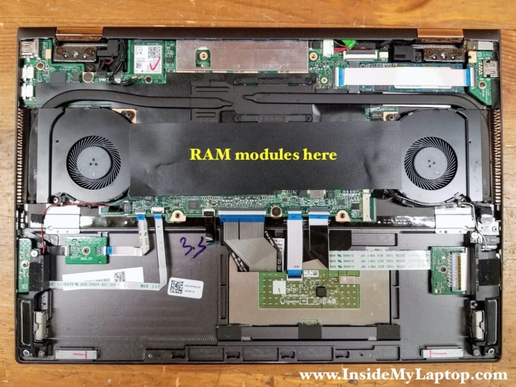 Both memory (RAM) modules are located under the black mylar cover.